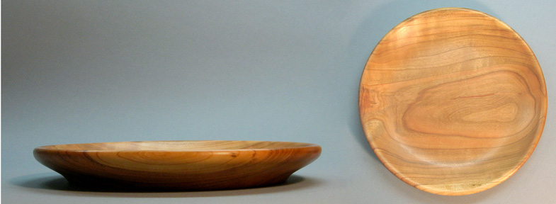 Turned Smooth Edge Shallow Cherry Bowl, Top and Side View