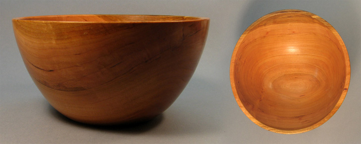 Turned Smooth Edge Cherry Bowl, Top and Side View