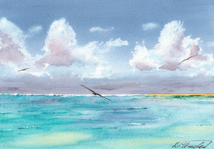 Watercolor Painting of Eastern Island, Midway Atoll