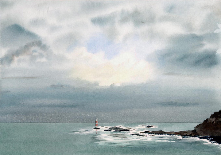 Watercolor Painting of Hauraki Gulf, New Zealand