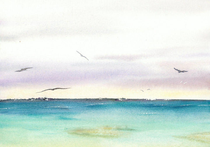 Watercolor Painting of  Lagoon, Midway Atoll