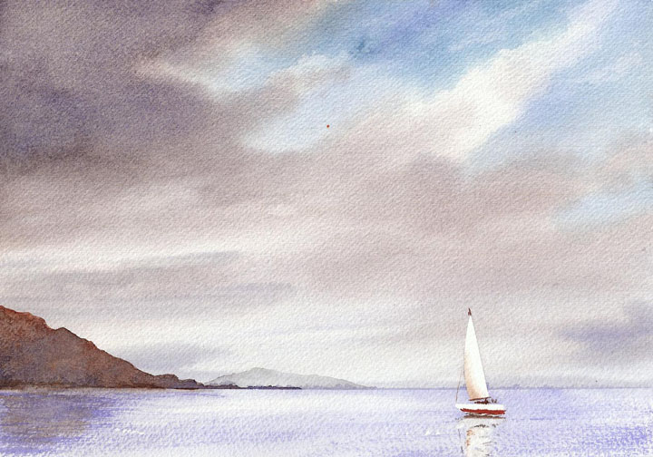 Watercolor Painting of Sailboat at Lanai, Hawaii