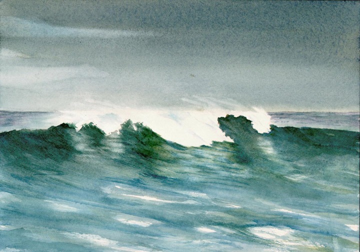 Watercolor Painting of Ocean Wave