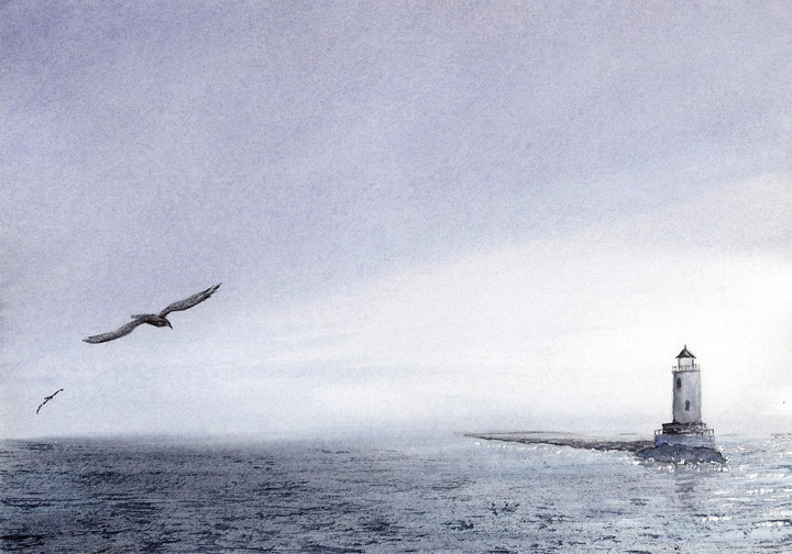 Watercolor Painting of San Pedro Harbor Light, California