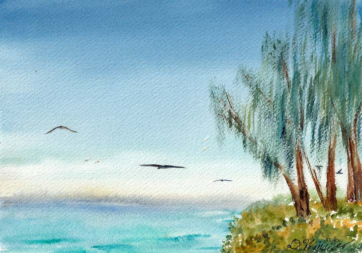 Watercolor Painting of Sand Island, Midway Atoll